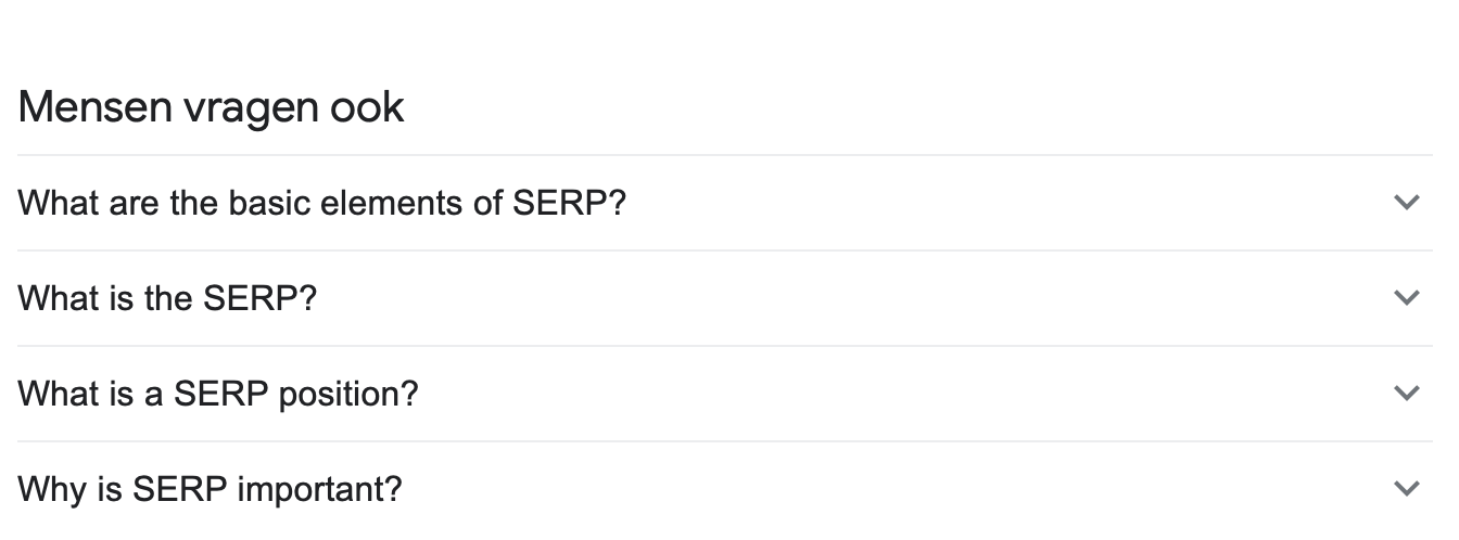 SERP feature mensen vragen ook