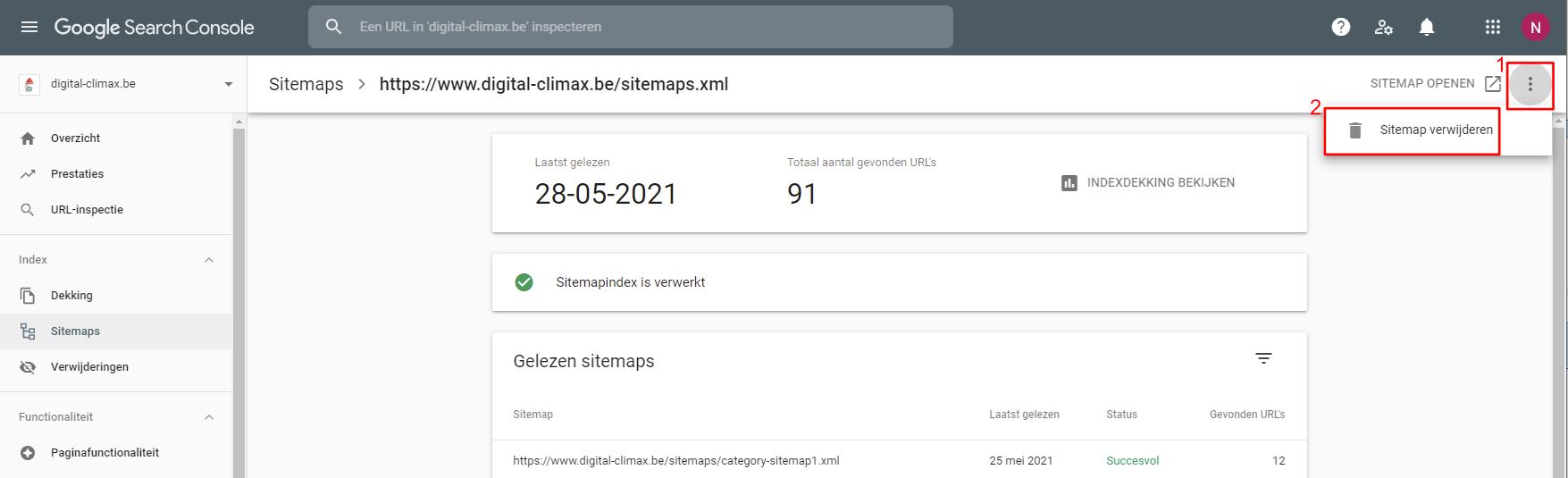 Verwijder de Sitemap uit Google Search Console