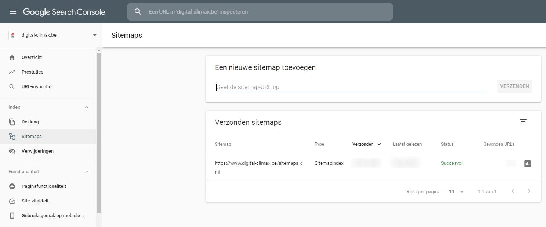 Sitemap verwijderen uit Google Search Console