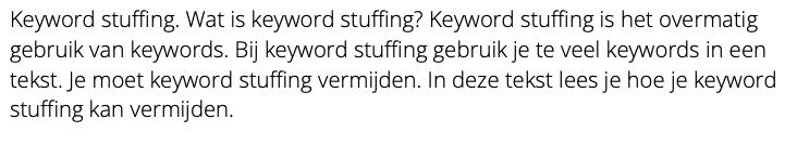 keyword stuffing voorbeeld